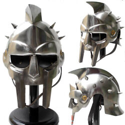 Medieval Gladiator Helmet Greek Roman Knight Maximus Costume Armor Iron Helmet N