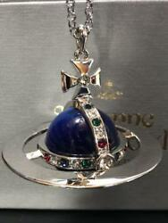 Vivienne Westwood Giant Orb Pendant Necklace Blue Good Condition Rare From Japan