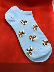 Basset Hound Blue Ladies No Show Socks