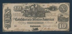 Csa T-29 10 1861 Slave Conf States Of America Note Choice Vf Hw4802