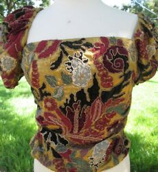 Collection. Multi-color Embroidered Floral Blouse Size 8