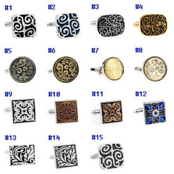 Multicolor Vintage Engraving Cloud/wave/flower Round/oval/square Cufflinks
