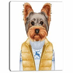 Design Art 'Terrier in Down Vest and Sweater' Graphic Art on Wrapped Canvas