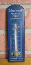 Old Blue Coal Advertising Wooden Thermometer Sign Americaand039s Finest Anthracite