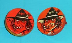 Vintage Halloween Noisemaker Lot X2 Different Variants Witch With Fangs T. Cohn