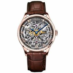 Men's Luxury Skeleton Automatic Watch With Roman Numerals And Power Reserve