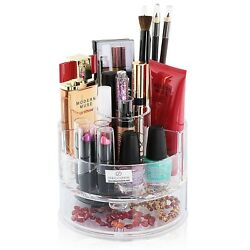 Decozen Cylindrical Cosmetic Clear Vanity Organizer Organizer with Drawer $19.99