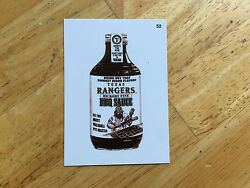 Topps Mlb Wacky Packages Sepia Sticker Texas Rangers Bbq Sauce 52 Collect Em All