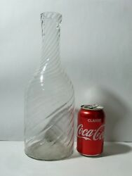 Early Georgian 18th Century Wrythen Decanter Bottle Free Blown Pontil Wide Mouth