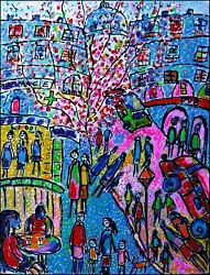 Lilas Modern Art Contemporary Oil And Ink Painting Paris France