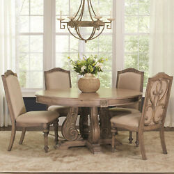 Kitchen Antique Linen Dining 5pcs Set Oatmeal Round Dining Table Side Chairs New