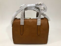 NWT FOSSIL SYDNEY Camel Satchel Convertible Crossbody Domed Purse wBag