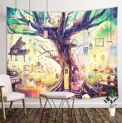 Fairy Tale Tree House Tapestry Wall Hanging Decor for Bedroom Living Room Dorm