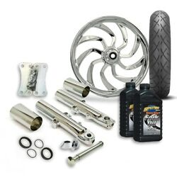 Rc 21 Hydro Wheel Tire And Complete Chrome Front End Package Harley 14-19 Flh