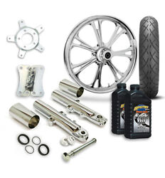Rc 21 Epic Wheel Tire And Complete Chrome Front End Package Harley 14-19 Flh