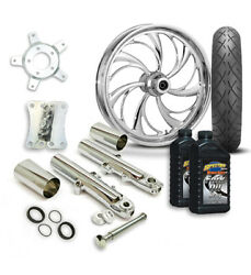 Rc 21 Helix Wheel Tire And Complete Chrome Front End Package Harley 14-19 Flh