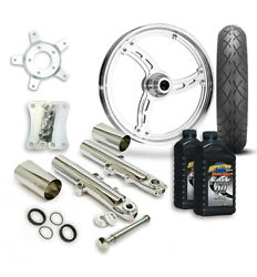 Rc 21 Imposter Wheel Tire And Complete Chrome Front End Package Harley 14-19 Flh
