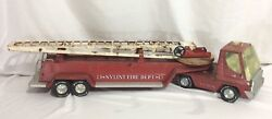 Vintage Antique Nylint Aerial Hook And Ladder Fire Truck And Trailer