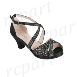New Girl Buckle Closure Dress Shoes Open Toe Special Occasion Formal Black