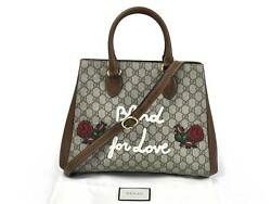 Auth GUCCI Embroidered GG Canvas America Limited Shoulder Bag BeigeBrown 95457