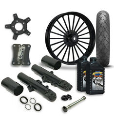 Rc 21 Illusion Wheel Tire And Complete Black Front End Package Harley 14-19 Flh