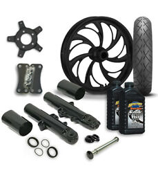 Rc 21 Helix Wheel Tire And Complete Black Front End Package Harley 14-19 Flh