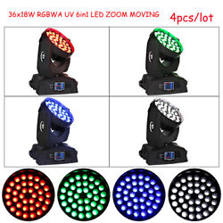 36x18w 6in1 Zoom Led Wash Moving Head Light Dj Stage Event Light 4pcs/lot
