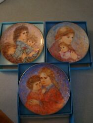 3 Knowles Edna Hibel Mother's Day Plates 1985, 1986 And 1990 In Box And Certificate