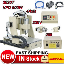 CNC Router Engraver 800W VFD 4 Axis USB 3020T Carving Drilling Machine Spindle