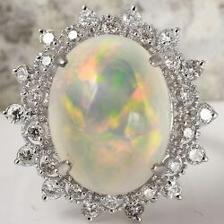 6.73Ct Natural Ethiopian Opal and Diamond 14K Solid White Gold Ring
