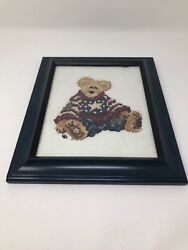 Vintage Happy Knitting Bear Hanging Picture