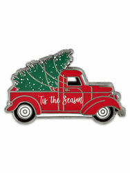 PinMart's Holiday Tis The Season Vintage Red Truck with Christmas Tree Lapel Pin