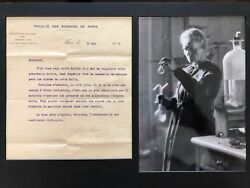 Marie Curie Autographed  Signed Letter 1922- 2 Nobel Prize First Lady of Science