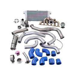 Single Gt35 Turbo Kit + Manifold For 240sx S13 S14 Rb20 Rb25 Blue 450hp