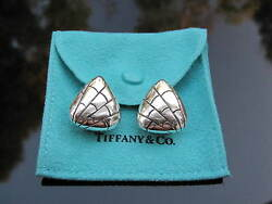 And Co Rare Vintage Silver Triangle Tortoise Reptile Pattern Earrings