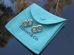 And Co Rare Vintage Silver 14k Gold Circles Circle Figure 8 Stud Earrings