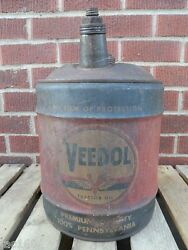 Old Veedol Flying V Oil Can 5 Gallon Auto Truck Gas Shop Tractor Advertising