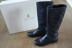 GUCCI Girls Black Leather Tall Boots Size EURO 30US 12 EUC ITALY!