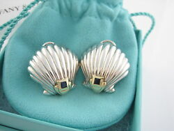 And Co Rare Vintage Silver 18k Gold Blue Sapphire Shell Clip On Earrings