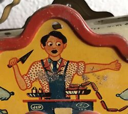Rare C. 1930 Jep Tin Litho Fun Child Scale Toy French Butcher Dogs-amazing