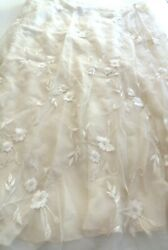 Ralph Lauren Collection White Color Embroidered Floral Skirt Size 6
