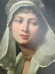 ANTIQUE  OIL PAINTING THE  LADY  IN  WHITE  PORTRAITS  PRE 1800  UNSIGNED