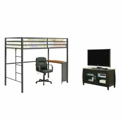 3 Piece College Dorm Set with Loft Bed and Chair with TV Storage Stand