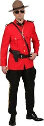 Mens Canadian Mountie National Dress Police Uniform Fancy Dress Costume Outfit