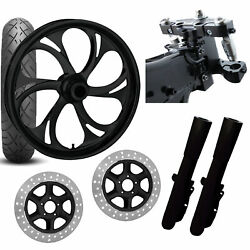 Rc 26 Recoil Black Wheel Tire Neck Rake Front End Package Harley Dual Disc