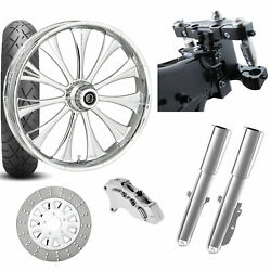 Rc 26 Cynical Chrome Wheel Tire Neck Rake Front End Package Harley Single Side