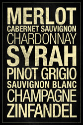 Wines Types Black Poster 12x18 inch