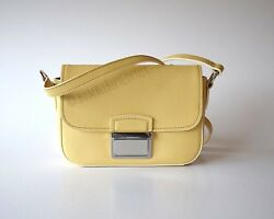 BIMBA Y LOLA Mini Crossbody SAFFIANO LEATHER Yellow DUAL SIDED Shoulder Bag NWT $119.90