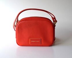 BIMBA Y LOLA Small Crossbody TEXTURED PEBBLED LEATHER Red LOGO Shoulder Bag NWT $159.90