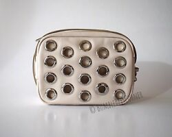 BIMBA Y LOLA Small Crossbody LEATHER & GROMMETS Cream DUAL SIDE Shoulder Bag NWT $199.90